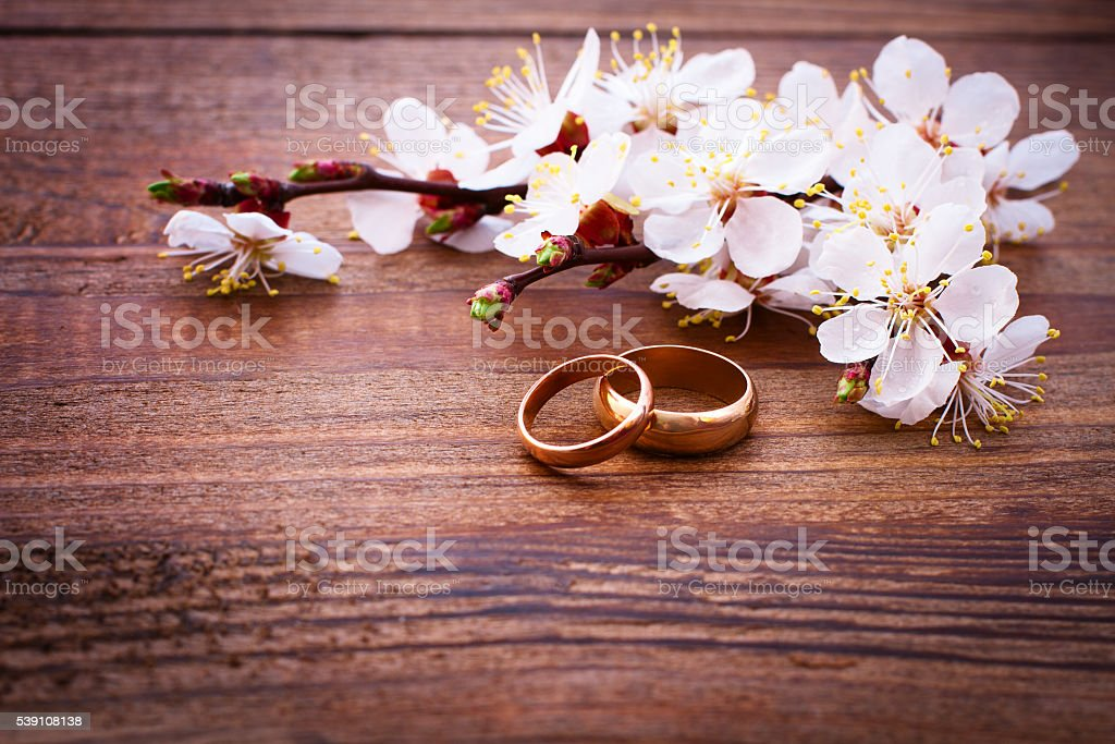 Flowering branch with white delicate flowers on wooden surface. stock photo