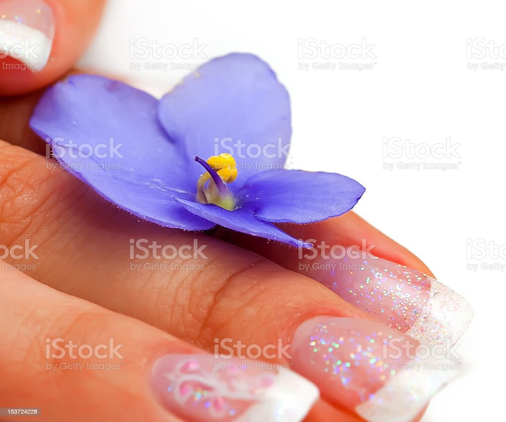 flower,nails and woman fingers(macro) royalty-free stock photo