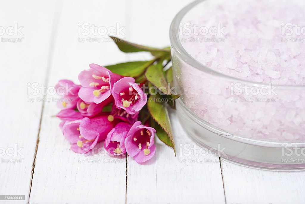 Flowers and bath salt royalty-free stock photo