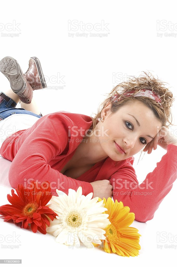 flowers and beauty girl stock photo