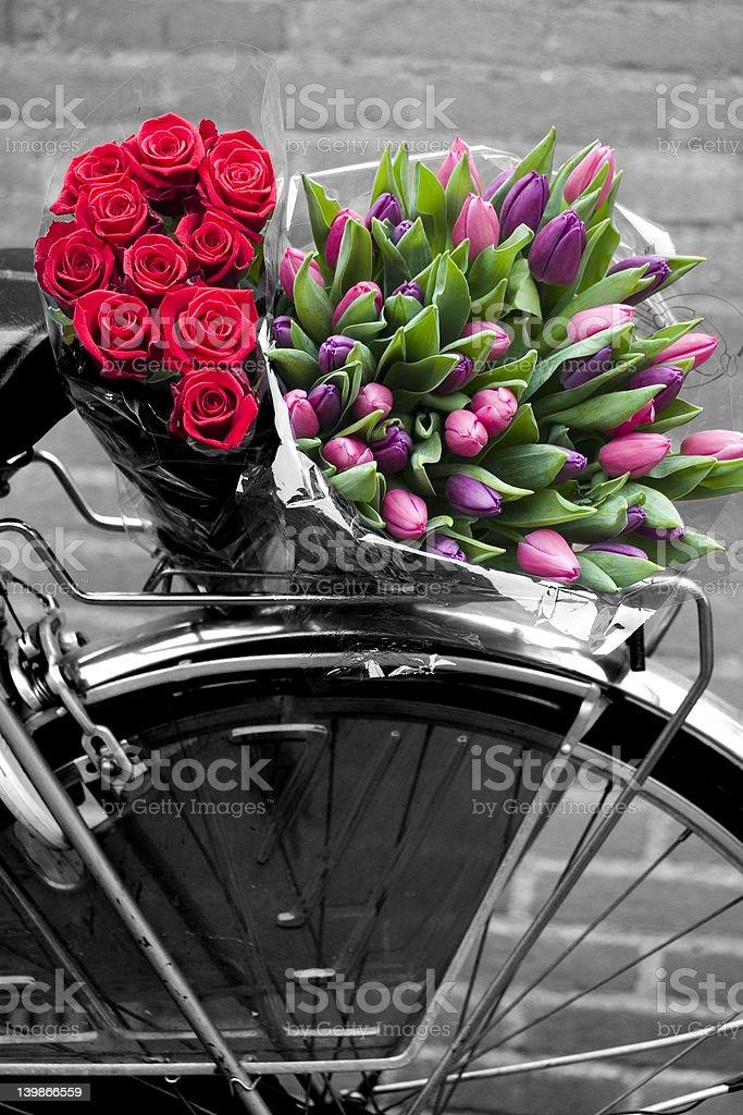 Flowers and bike stock photo