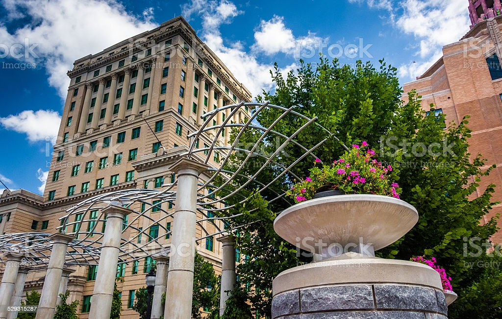 Flowers and Buncombe County Courthouse, in Asheville, North Caro stock photo