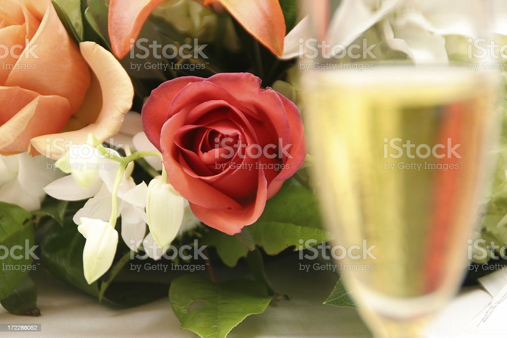 Flowers and champagne #1 royalty-free stock photo