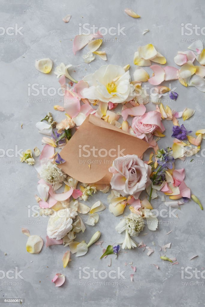 Flowers and envelope stock photo