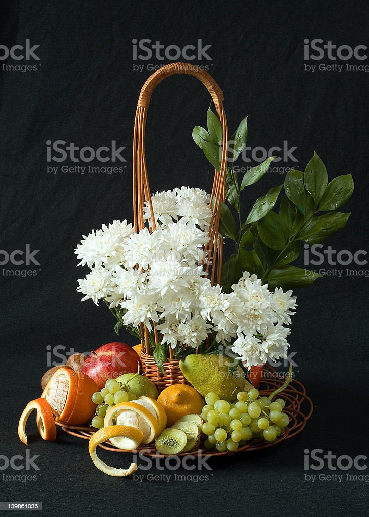 Flowers and fruits royalty-free stock photo