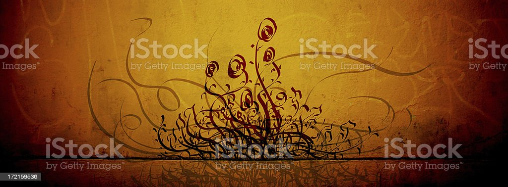 Flowers and Ivy 2 - Cave Drawings Series royalty-free stock photo