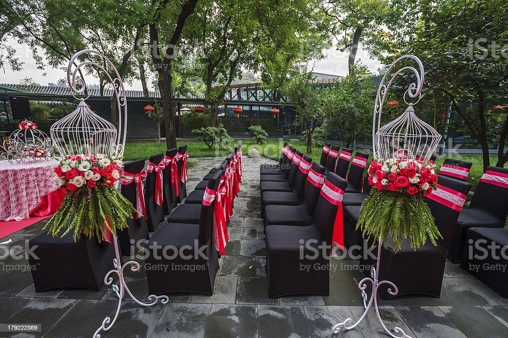 Flowers and Lace bow ribbon of Black Seat Covers royalty-free stock photo