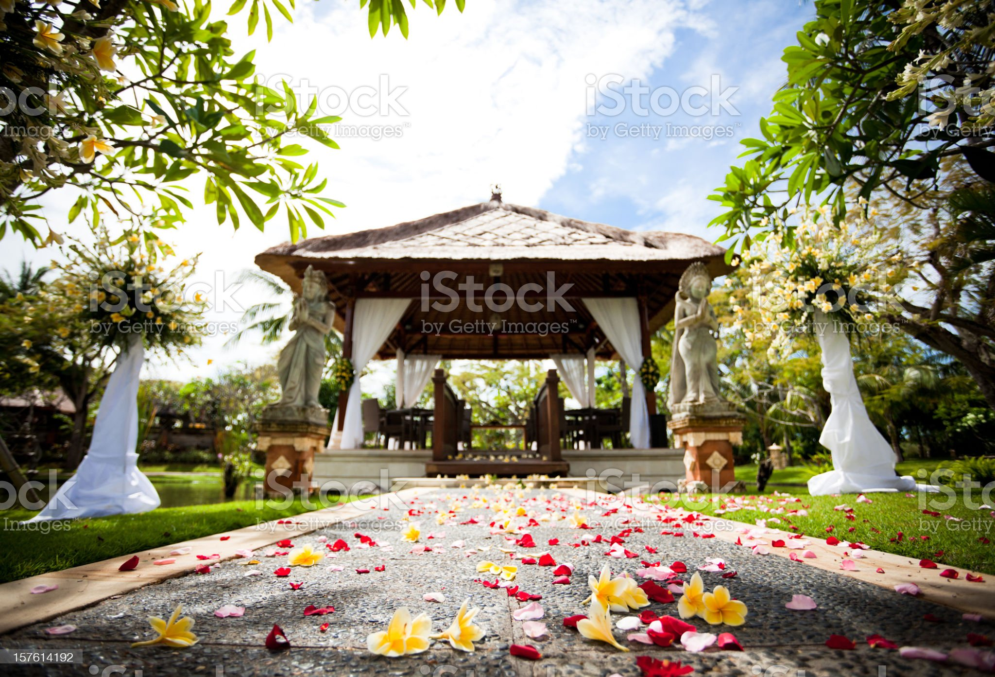 flowers and path to wedding gazebo royalty-free stock photo