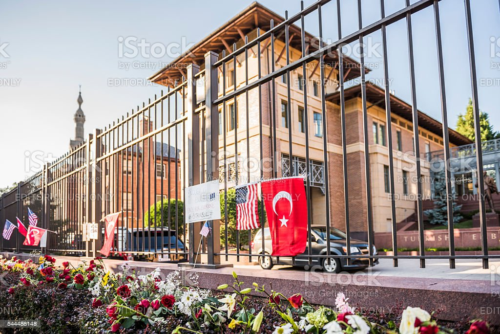 Flowers and posters at Turkish Embassy stock photo