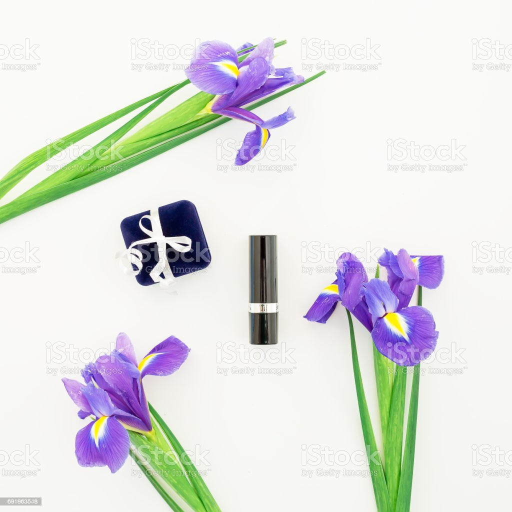 Flowers and women's accessories. Flat lay, Top view stock photo