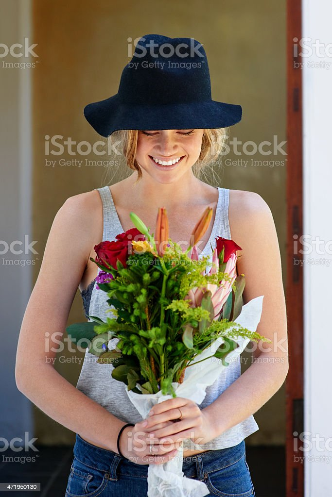 Flowers are our greatest silent friends stock photo