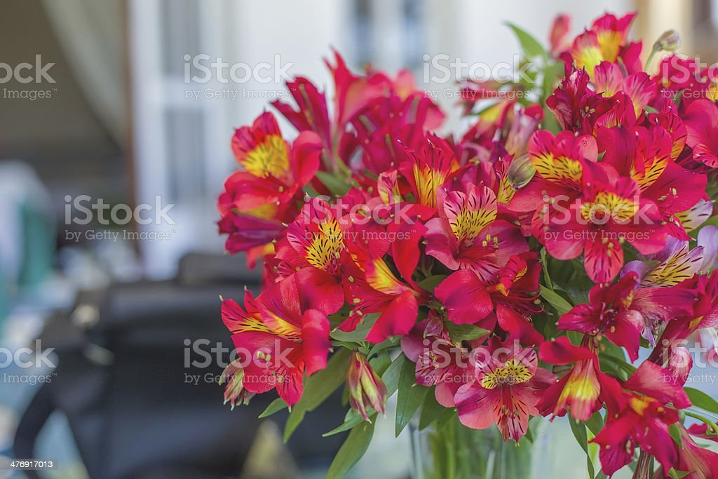 Flowers as decoration for a dining table royalty-free stock photo