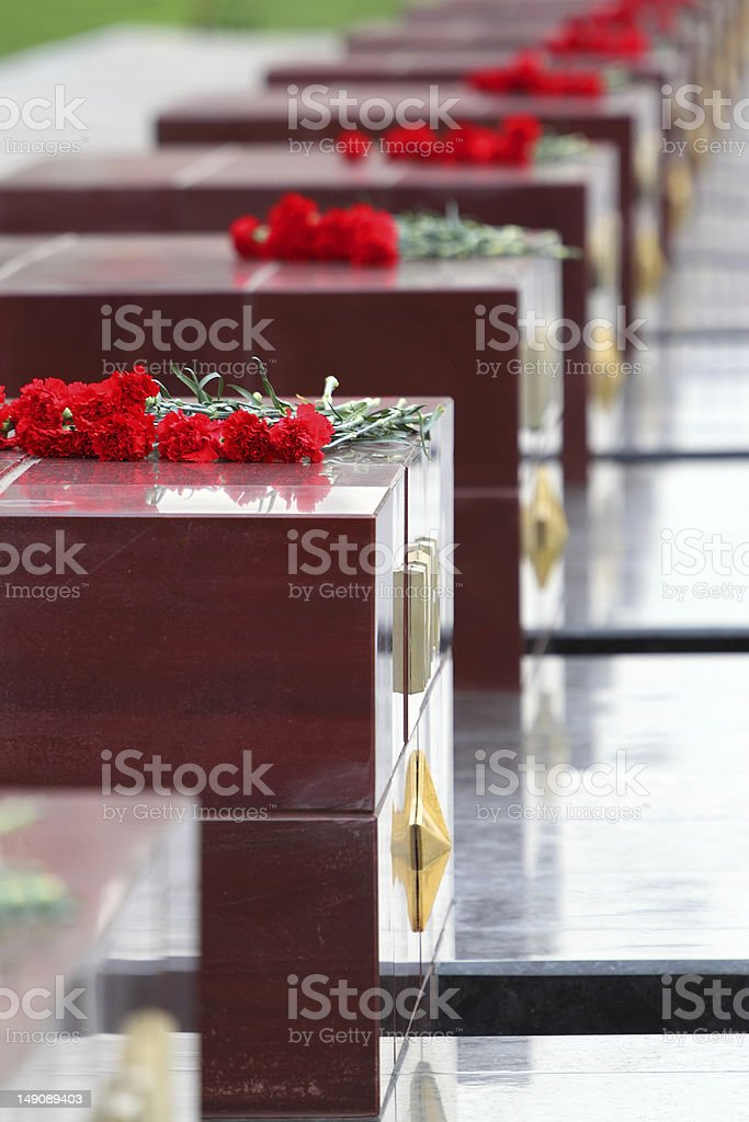 Flowers at memorial to tomb of Unknown Soldier stock photo