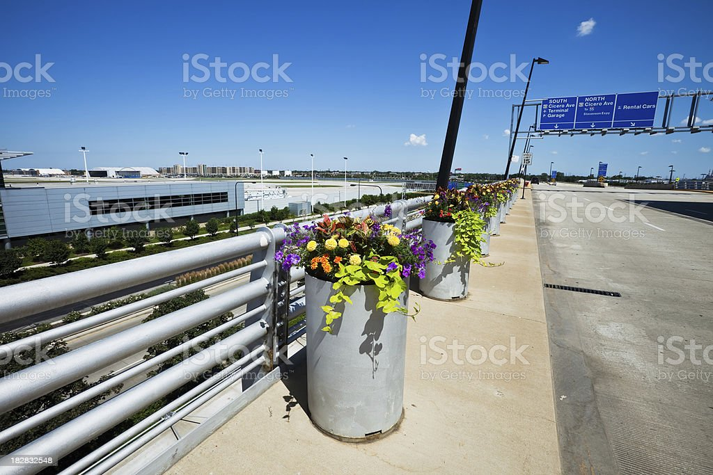 Flowers at Midway International Airport stock photo
