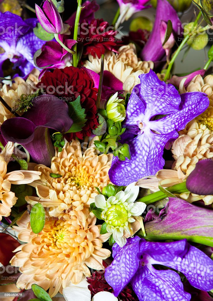 Flowers bouquet mix with different colors stock photo