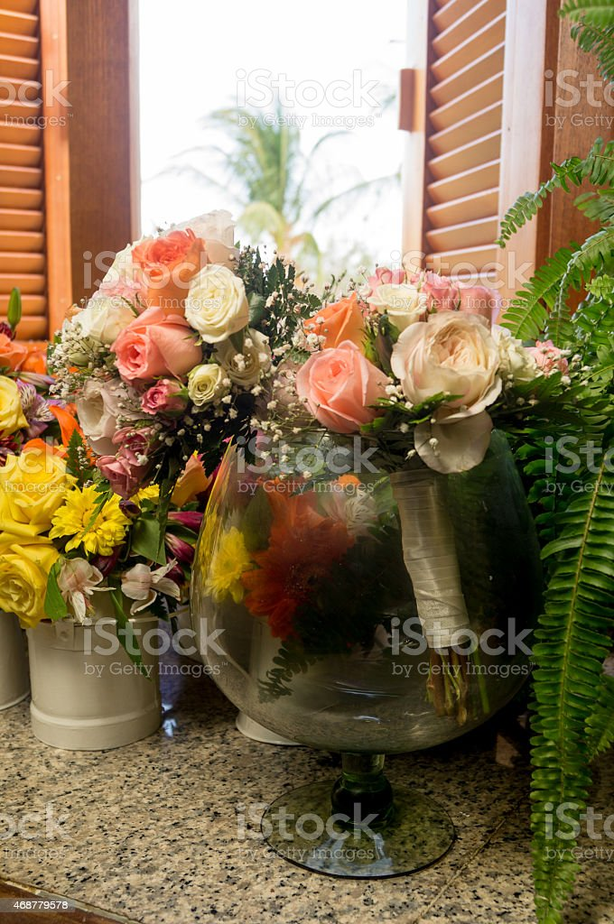 Flowers. Bouquets in a glass cup. stock photo