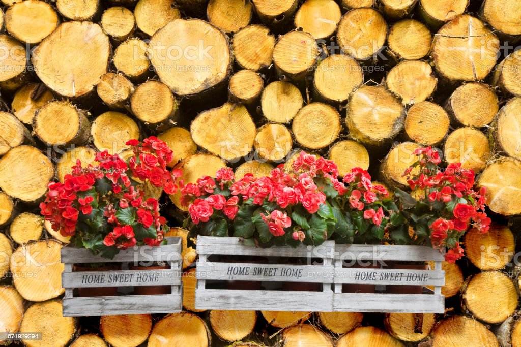 Flowers boxes hanging on a timber stack - Home sweet home written on wooden box stock photo