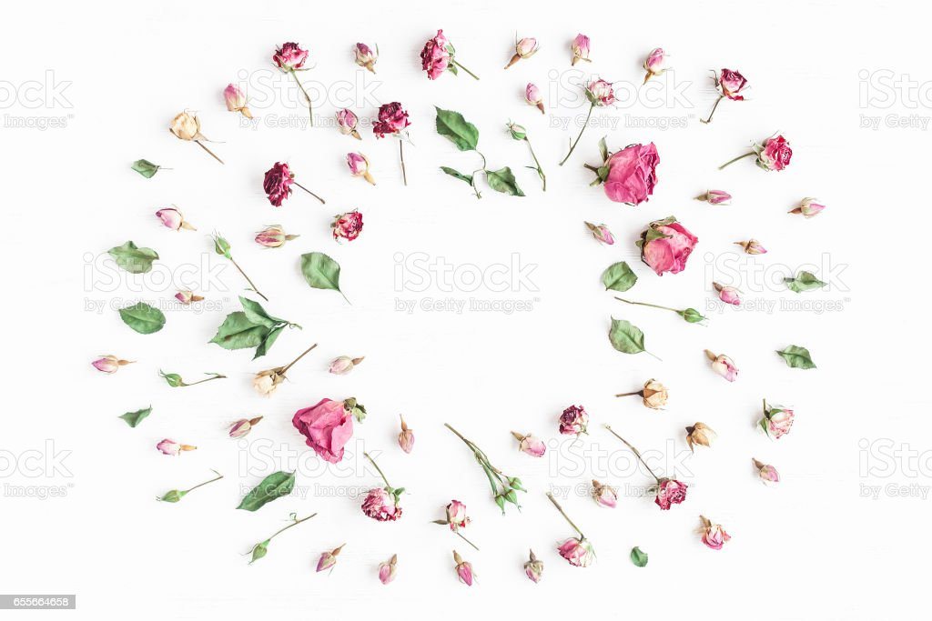 Flowers composition. Frame made of dried rose flowers stock photo