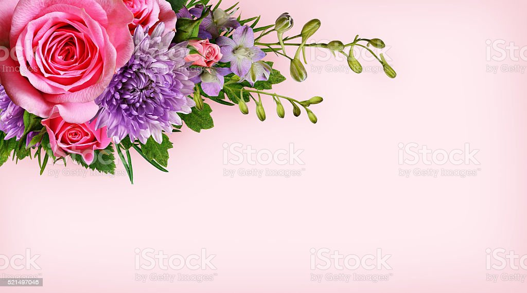 Flowers corner on pink background stock photo
