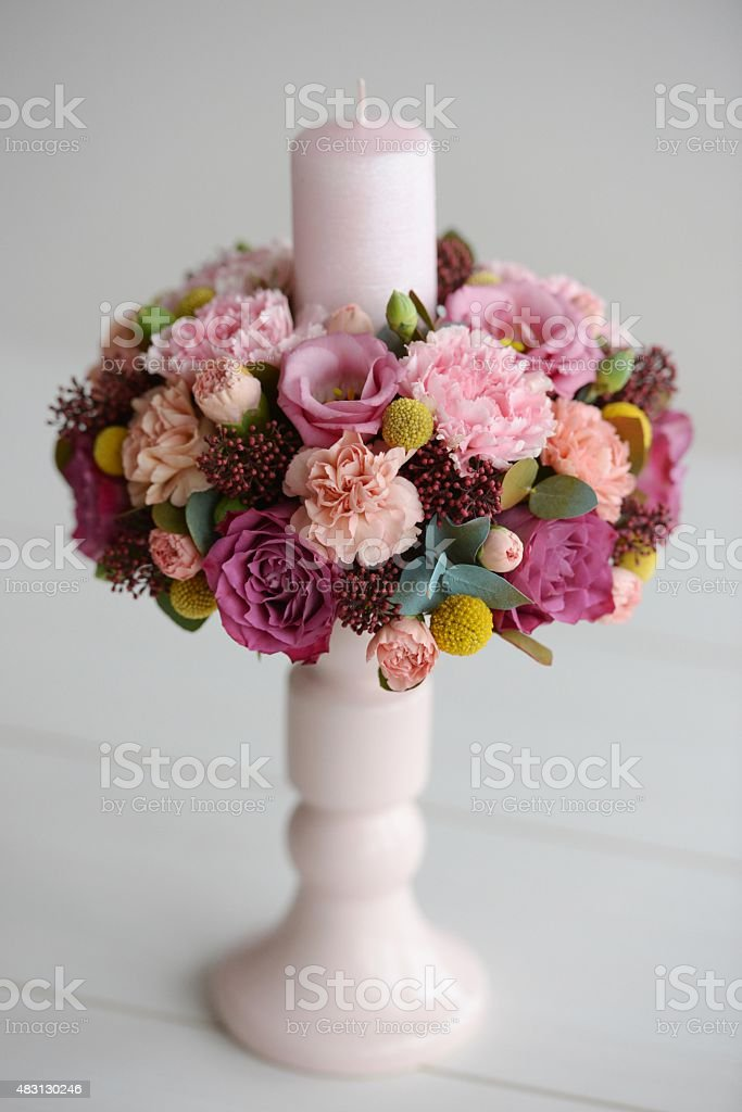 flowers decoration with candle stock photo