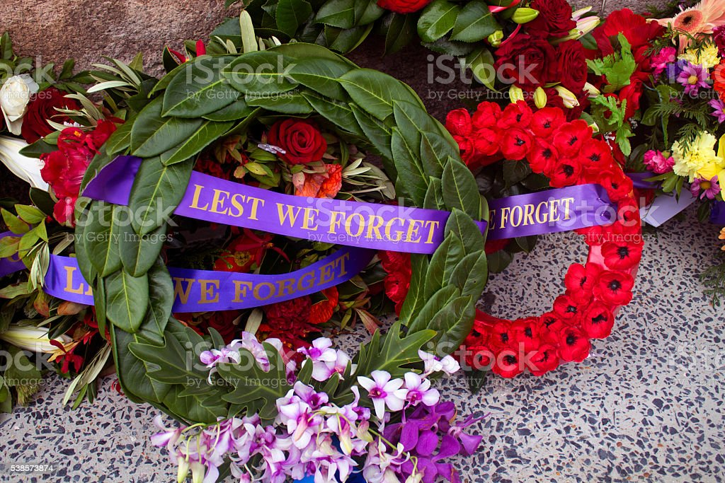 flowers for anzac day stock photo