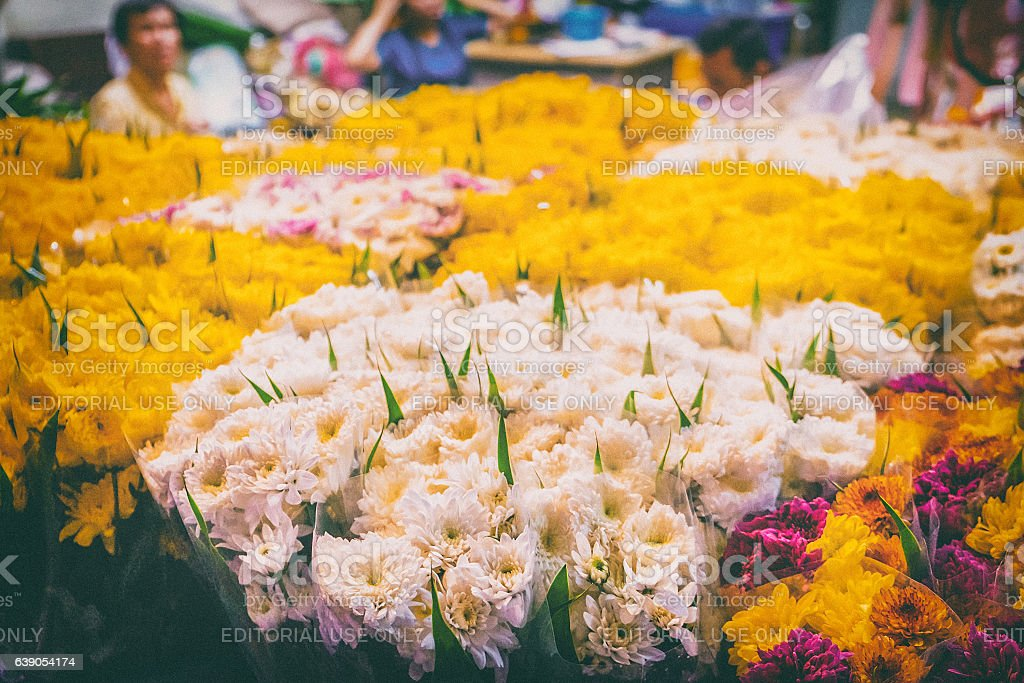 Flowers for sale at the Thai night flower market. stock photo