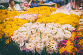 Flowers for sale at the Thai night flower market.
