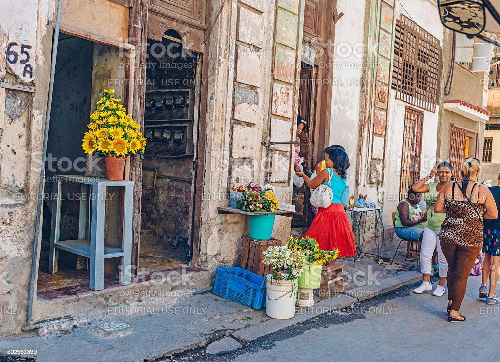 Flowers for Sale, Havana street market stock photo