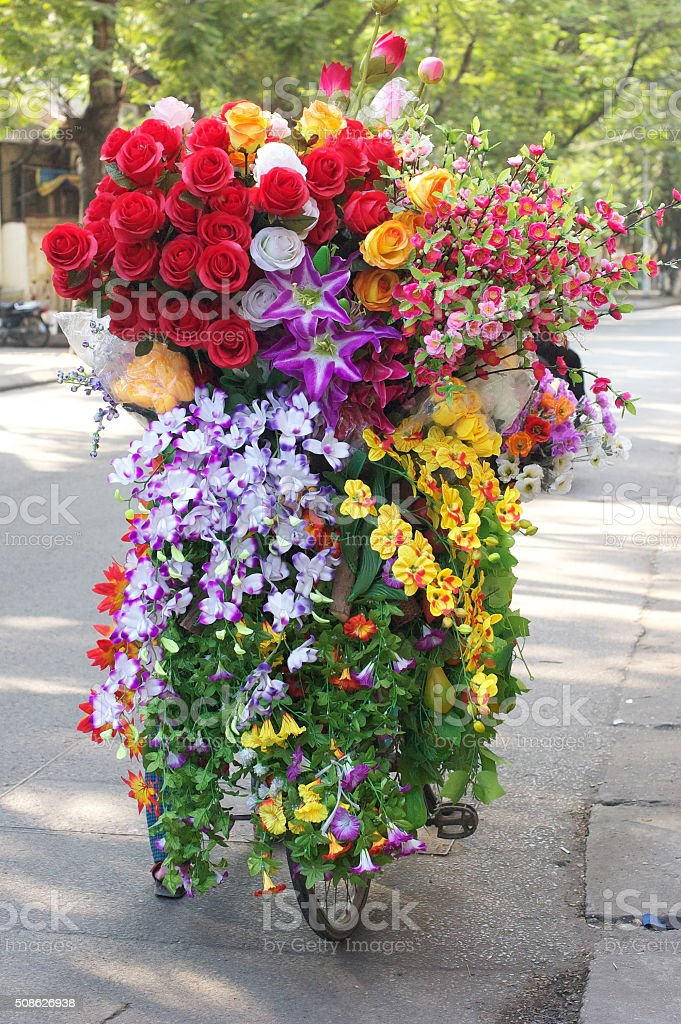 Flowers for sale in Hanoi, Vietnam stock photo