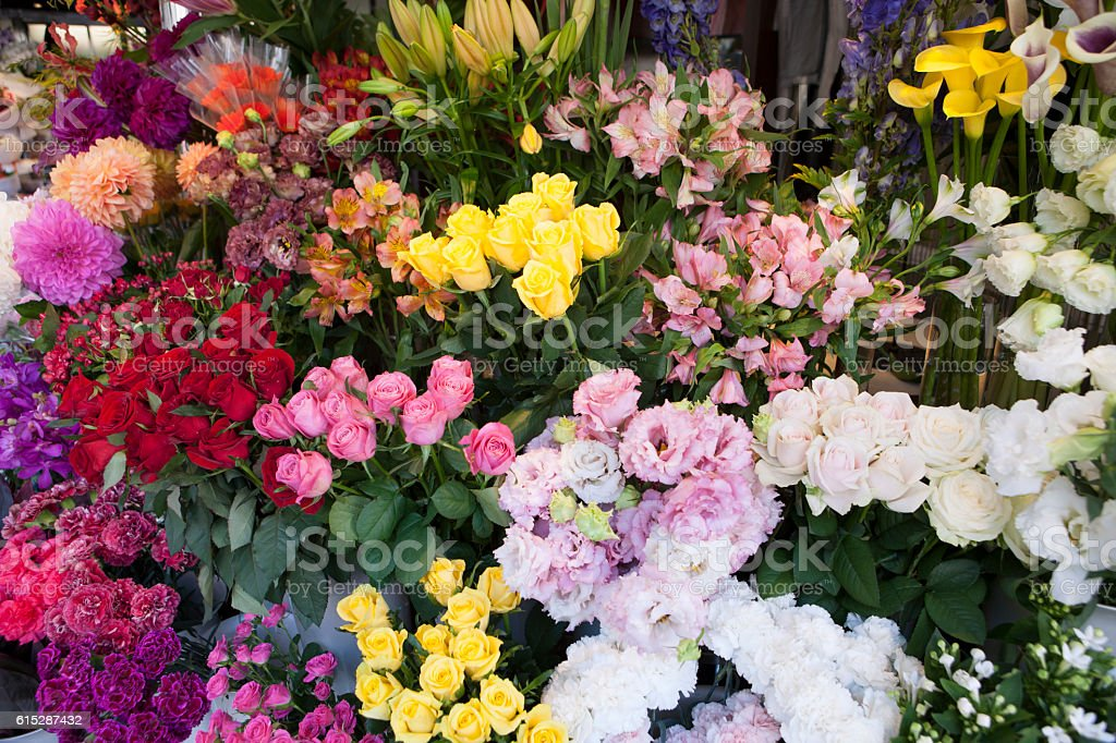Flowers in a flower shop stock photo