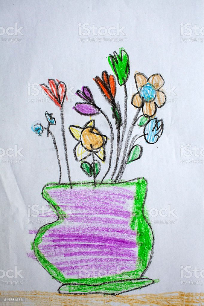 Flowers in a vase - child's drawing stock photo