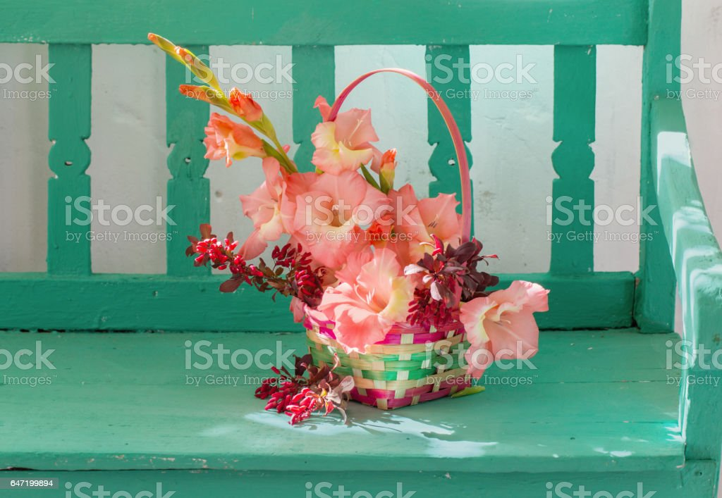 flowers in basket  on bench indoor stock photo
