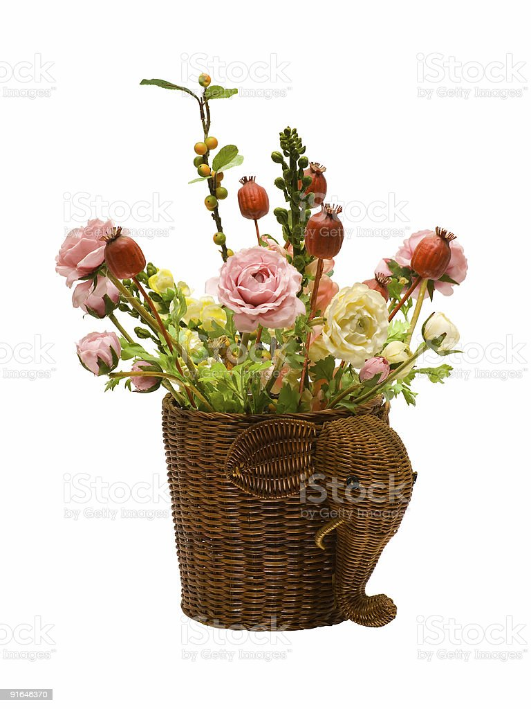 Flowers in basket royalty-free stock photo
