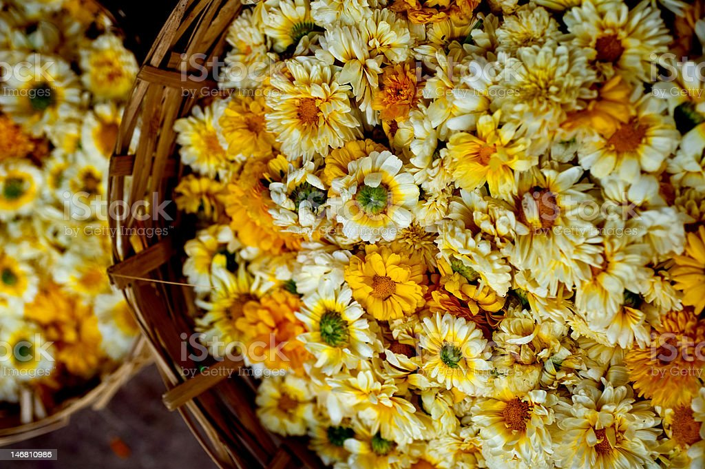 Flowers in baskets at a market, Mumbai, India royalty-free stock photo