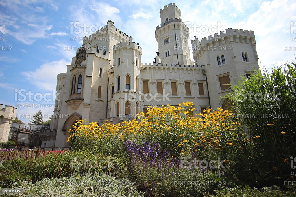 Flowers in front of Hluboka Castle stock photo