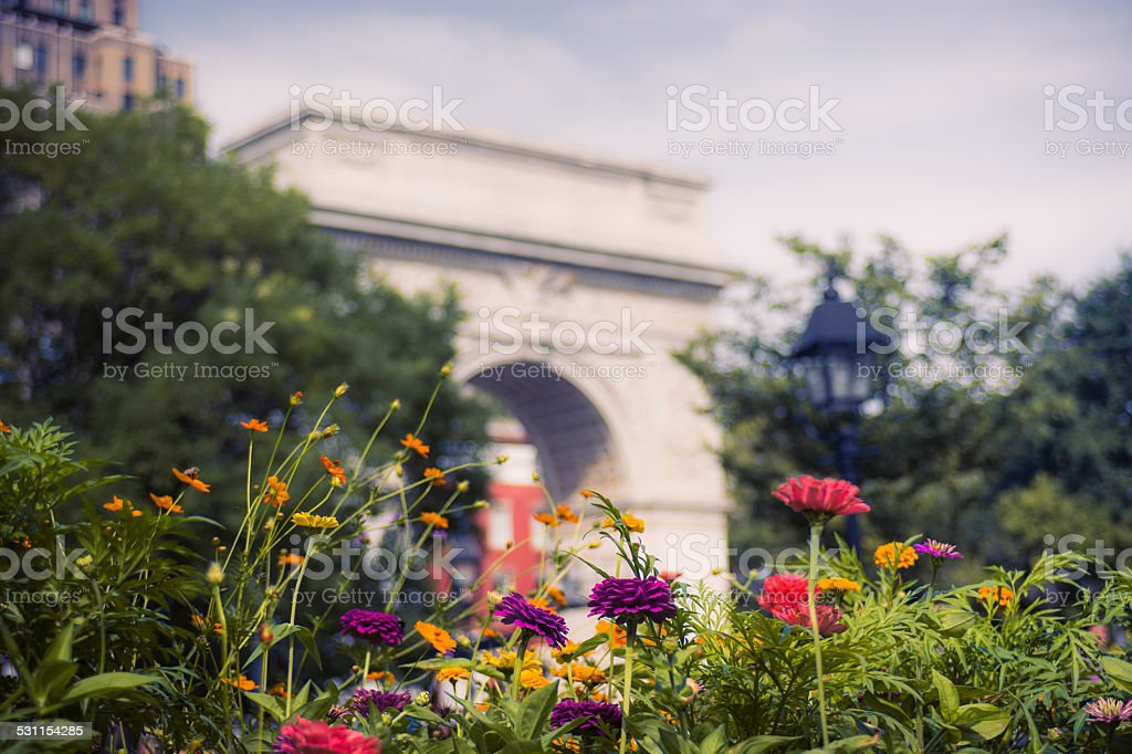 Flowers in front of Washington Square Arch in New York City stock photo