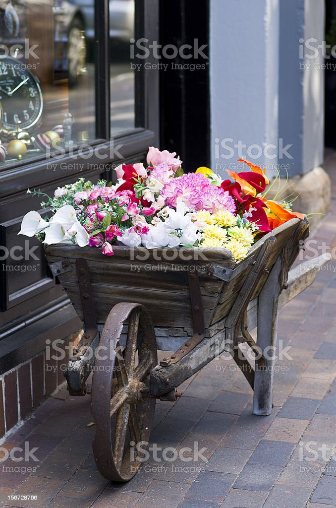 Flowers in old wheelbarrow at The Rocks, Sydney royalty-free stock photo