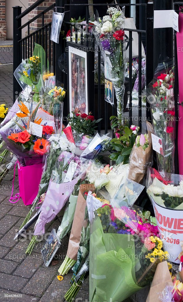 Flowers in remembrance of David Bowie in Beckenham stock photo