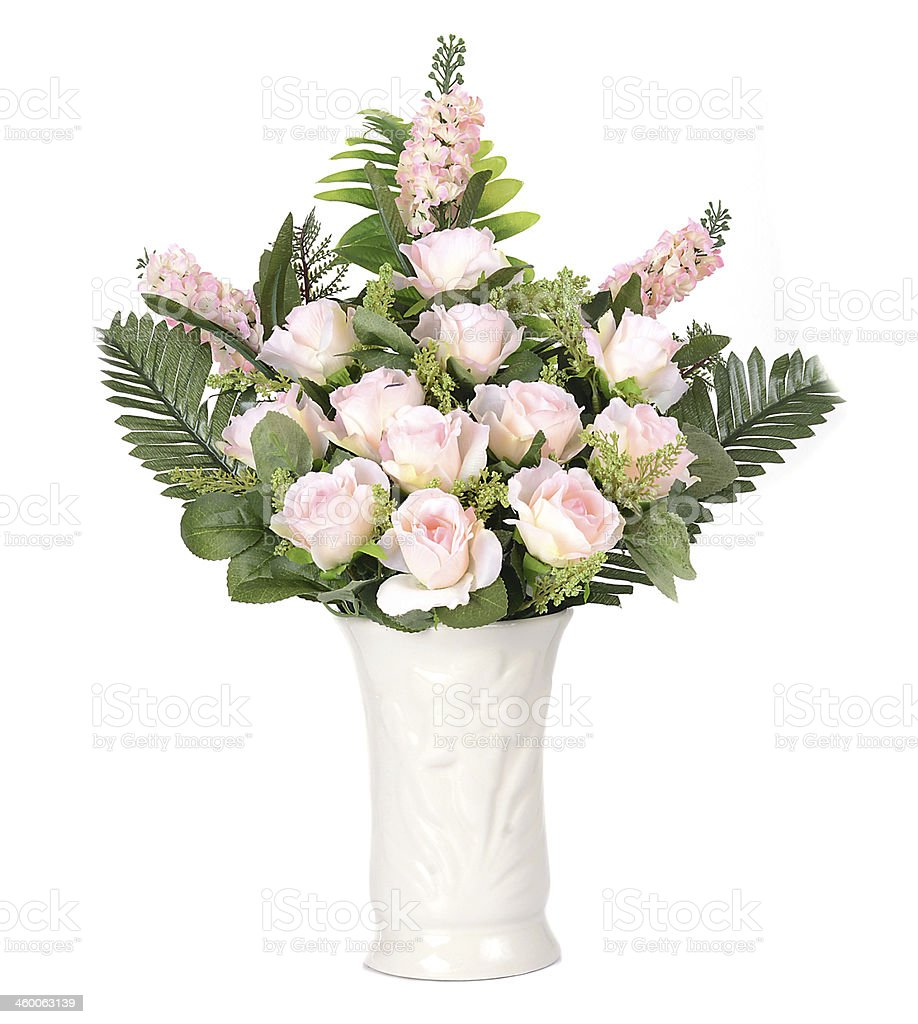flowers in vase isolated stock photo
