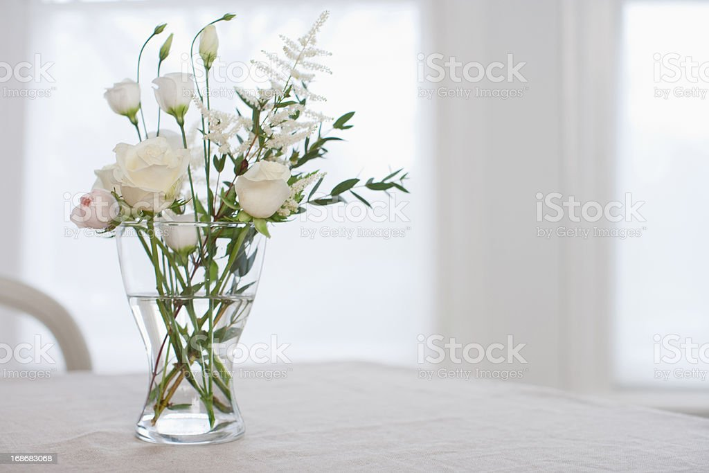 Flowers in vase on table  stock photo