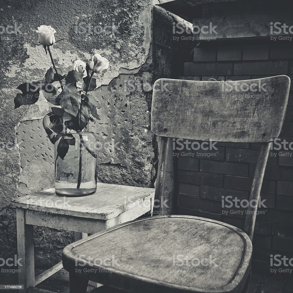 Flowers in vintage glass vase near the old wall royalty-free stock photo