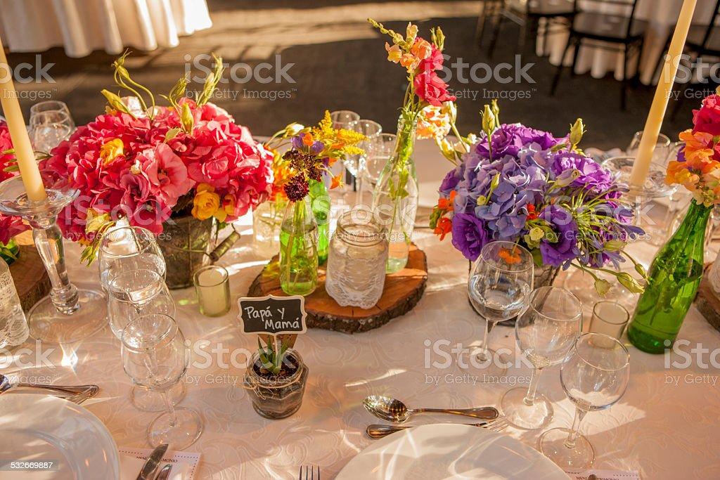 flowers in Wedding Reception stock photo