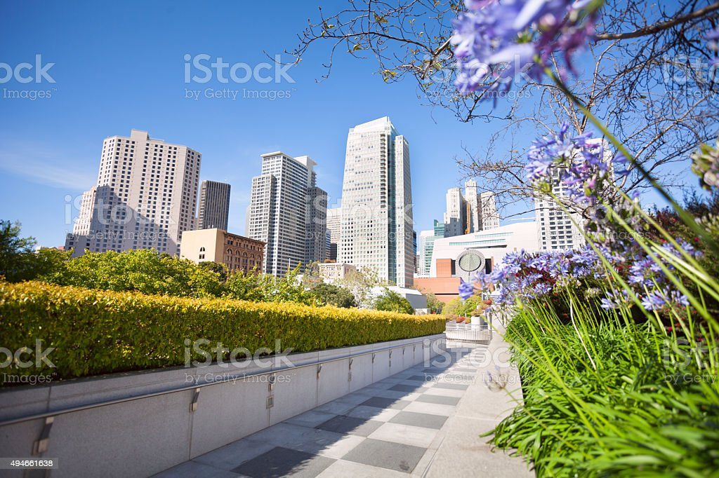 Flowers in Yerba Buena Gardens park, San Francisco stock photo