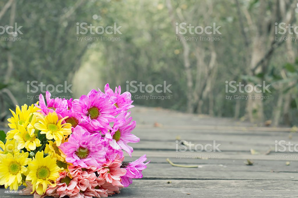 Flowers laying on the wood floor royalty-free stock photo