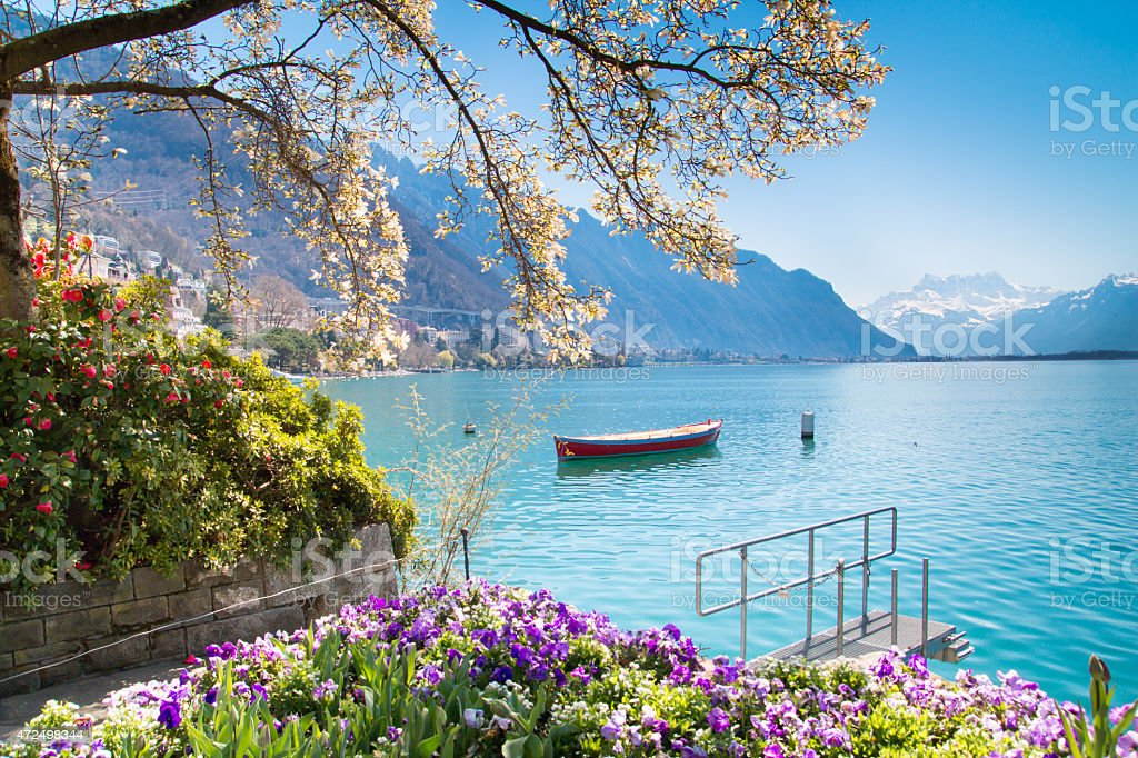 Flowers, Mountains and Lake Geneva in Montreux, Switzerland stock photo