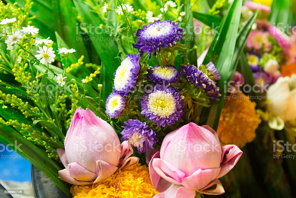 Flowers object use to respect buddha. stock photo