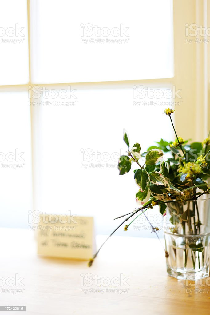 Flowers on a cafe counter royalty-free stock photo