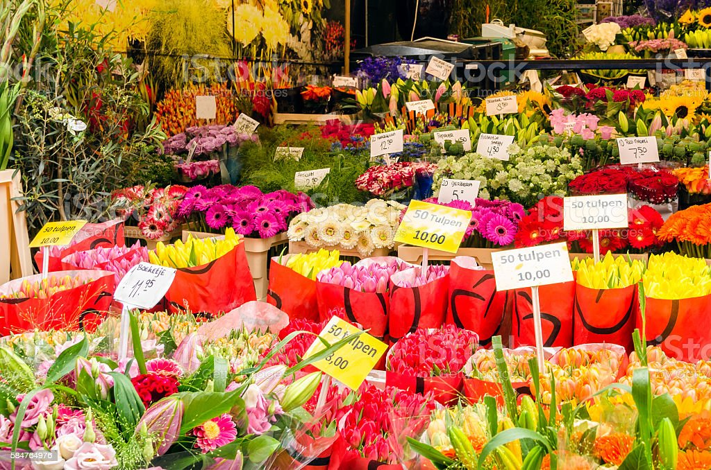 Flowers on a Market Stall stock photo