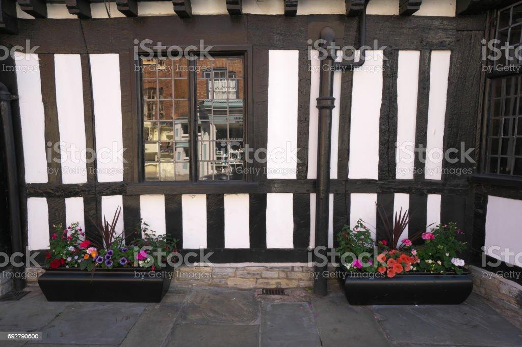 Flowers on Chapel Street of Stratford-upon-Avon stock photo