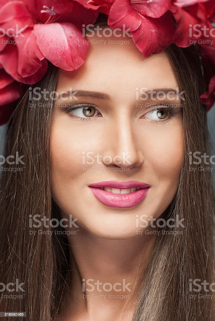flowers on her head stock photo
